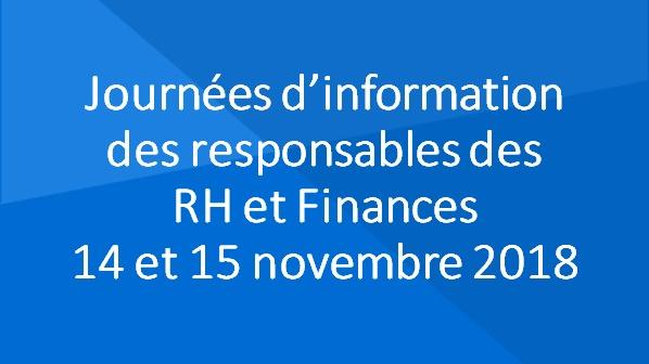 Journées d'information pour les responsables des ressources humaines et financières